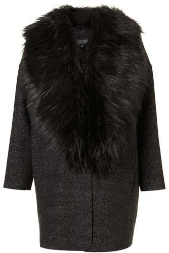 Topshop Tweed Faux Fur Collar Boyfriend Coat