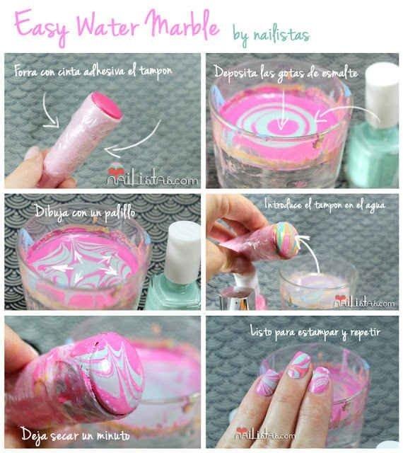 Water Marbling Tampon Trick - 39 Gorgeous Nail Hacks to…
