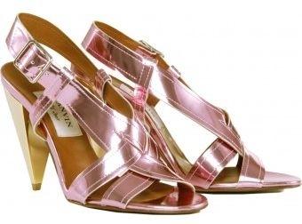 Lanvin Metallic Cone Heel Sandals
