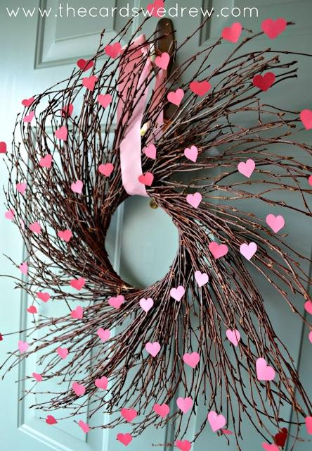 pink, flower, wreath, twig, decor,