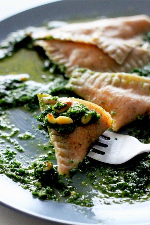Sweet Potato Ravioli with Kale Pesto