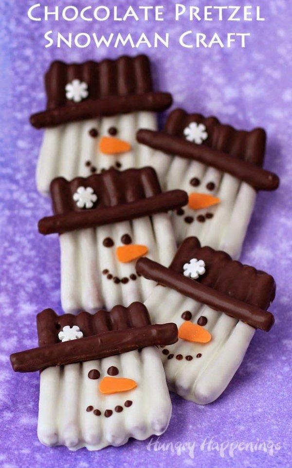 Chocolate Pretzel Snowman Craft