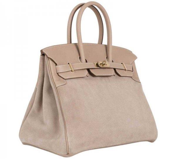 Hermes Birkin Grizzly Suede Bag
