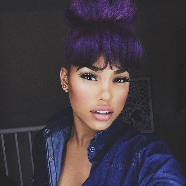 hair, black hair, blue, hairstyle, purple,