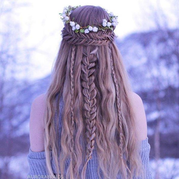 clothing, hair, hairstyle, lilac, long hair,
