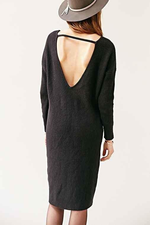 Silence Noise V-Back Sweater Midi Dress- Black