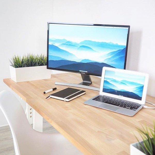 furniture, room, table, computer monitor, desk,