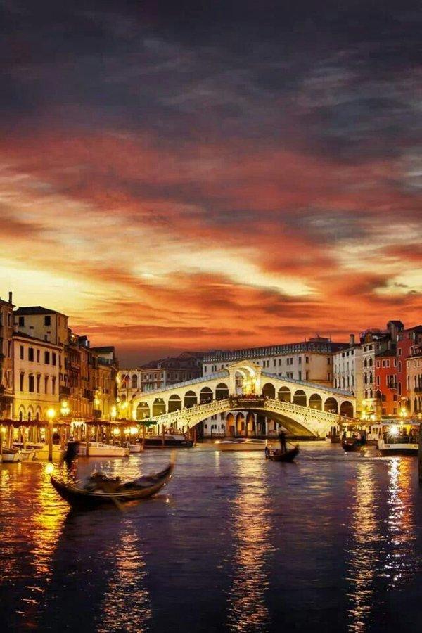 Rialto Bridge,Rialto Bridge,reflection,cityscape,sunset,
