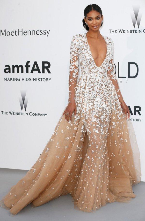 Chanel Iman at the AmfAR Cinema against AIDS Gala