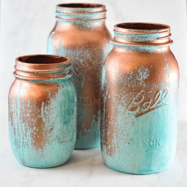 Decorative Blue Patina Jars