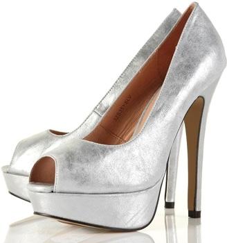 Topshop Sienna Silver Metallic Platform Peep Toe Shoes