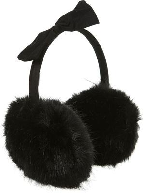 Topshop Black Faux Fur Bow Detail Earmuffs
