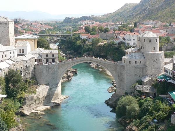 Cross the Stari Most Bridge in Mostar, Bosnia