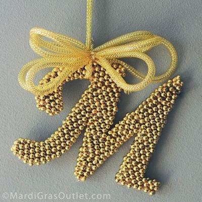 Monogram DIY with Mardi Gras Beads