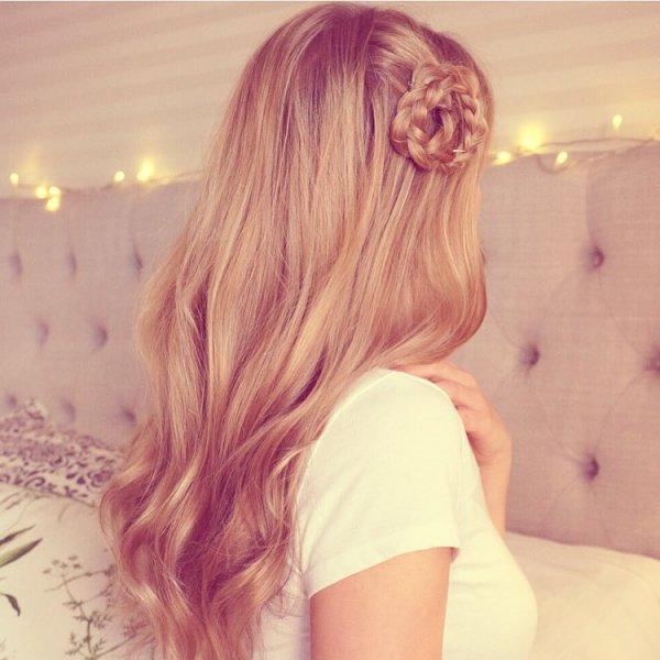 One Little Flower in Rose Gold Hair