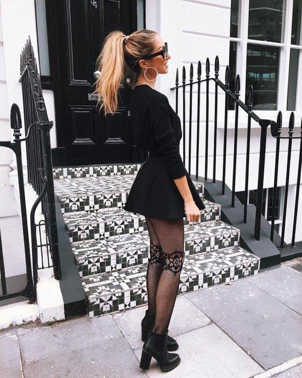 black, clothing, footwear, tights, dress,