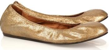 Lanvin Metallic Leather Ballerina Flats