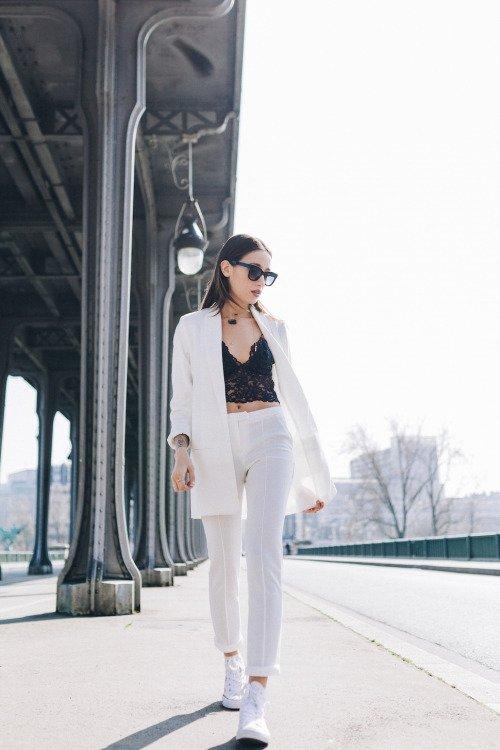So Chic: Black Crop Top, White Blazer and White Pants