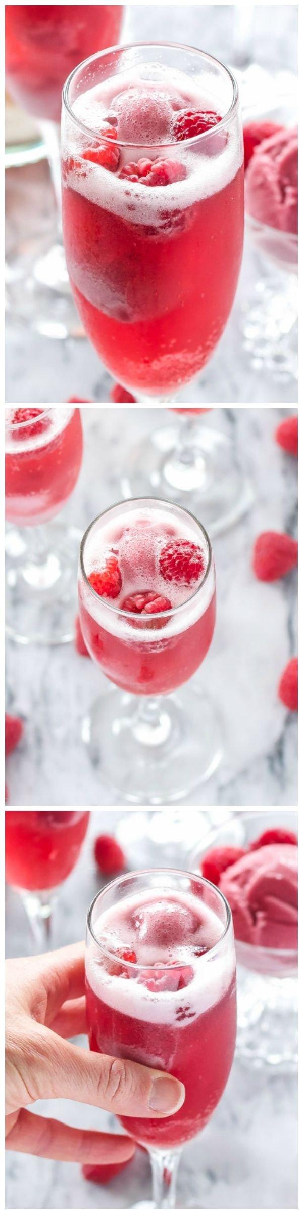 Raspberry Sorbet Bellinis