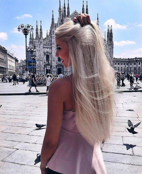 girl, long hair, street, tourism, vacation,