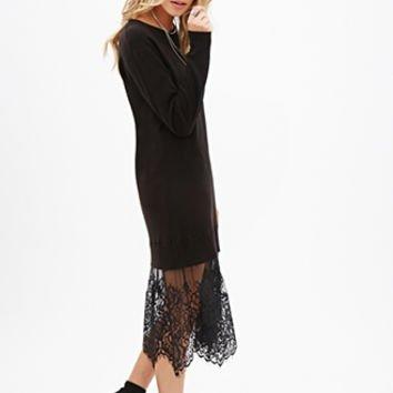 FOREVER 21 Eyelash Lace Sweater Dress