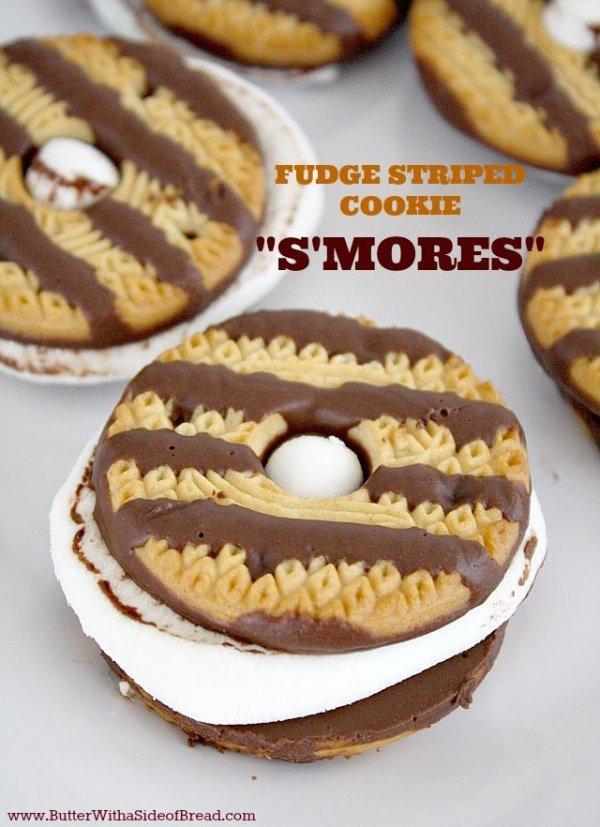 Fudge Striped Cookie Smores