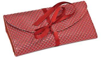 Red Diamond Pattern Wrap Jewelry Roll