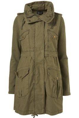 Topshop Khaki Jersey Sleeve Oversize Pocket Parka