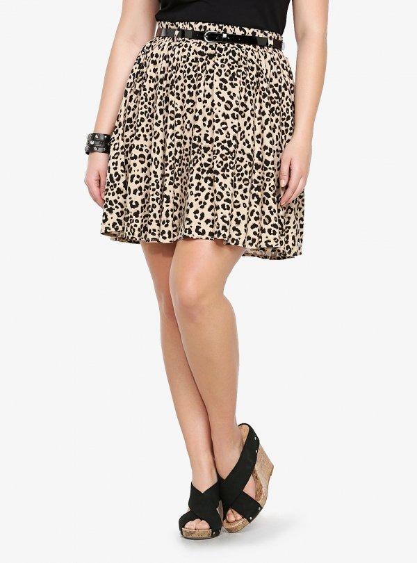 Leopard Challis Skater Skirt