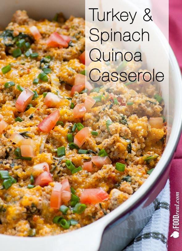 Healthy Turkey & Spinach Quinoa Casserole