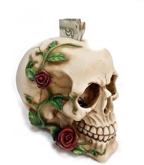 Decorative Laughing White Skull Money Box