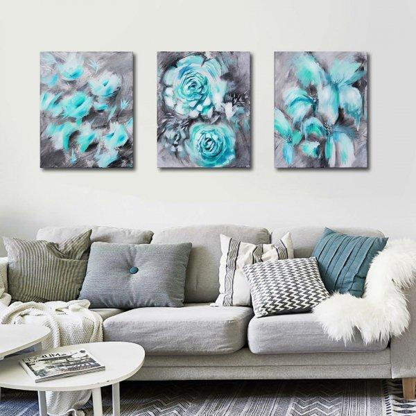 Modern art, Aqua, Turquoise, Teal, Blue,