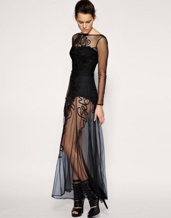Black Cornelli Detail Mesh Maxi Dress