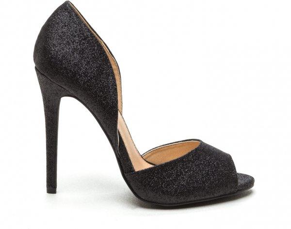 Grains of Glitter Peep-Toe Heels