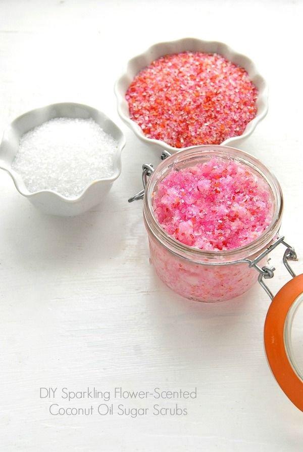 DIY Sparkling Flower-scented Coconut Oil Sugar Scrubs