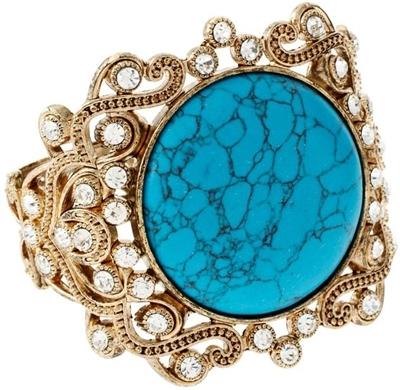 Tallulah Tu Turquoise Ornate Gold Bangle