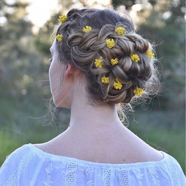 hair, hairstyle, flower, sunglasses, headgear,