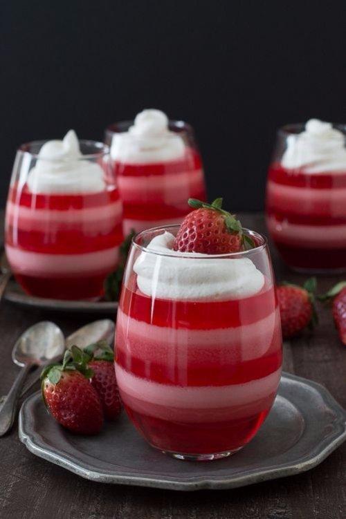 Layered Strawberry Jello Cups