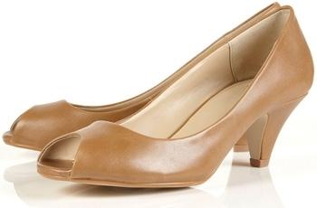 Topshop Joelle Camel Peep Toe Court Shoes