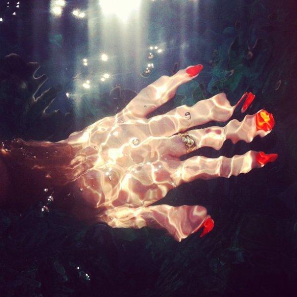 underwater, hand,