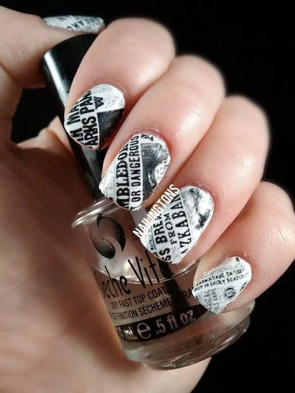 Harry Potter Newspaper Nails