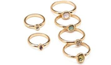 FOREVER 21 Iridescent Midi Ring Set Gold/Multi