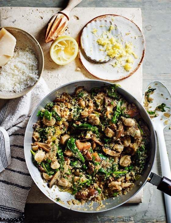 Mushroom and Spinach Quinoa 'risotto'