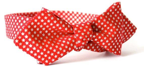 Red Silver Star Diamond Point Bow Tie