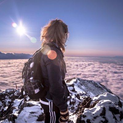 mountain, winter, mountaineering, snow, sunlight,