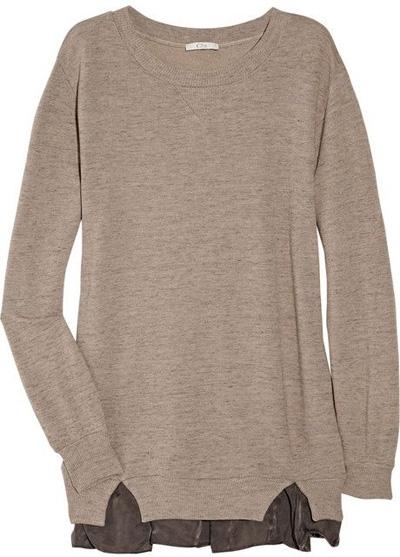 Clu Satin-Trimmed Cotton-Terry Sweat Shirt