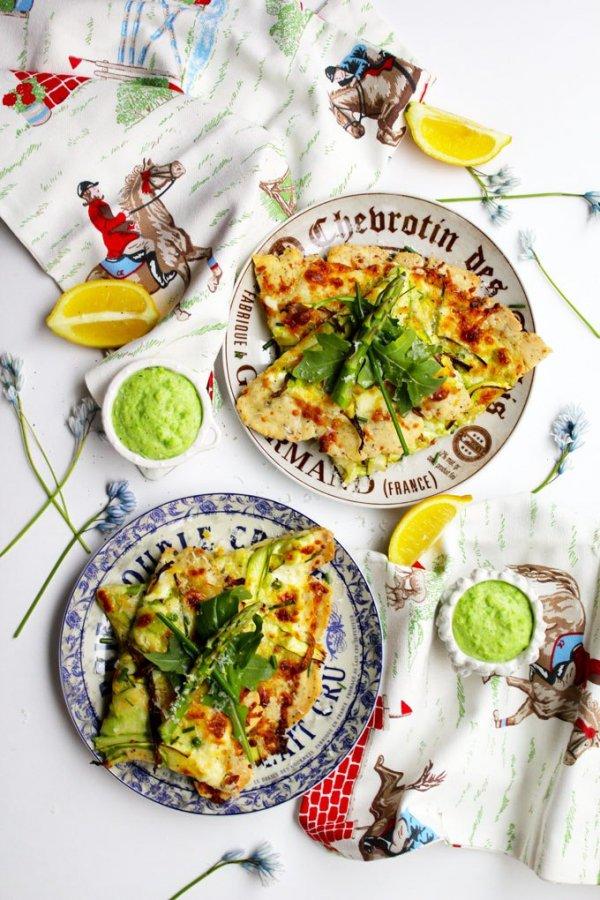 Asparagus Alfredo Pizza with Peas & Arugula