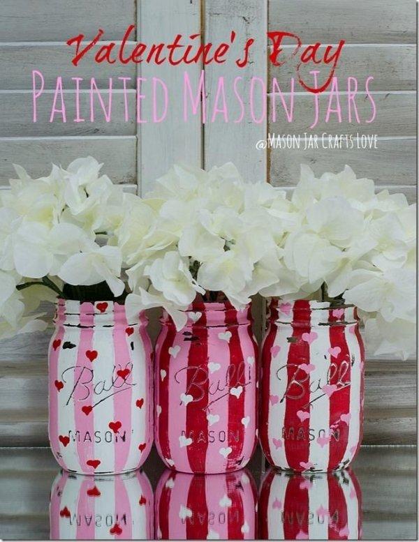 Valentine Painted Mason Jars