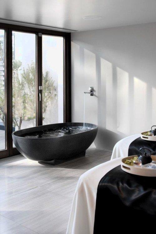 room,bathtub,floor,bathroom,interior design,