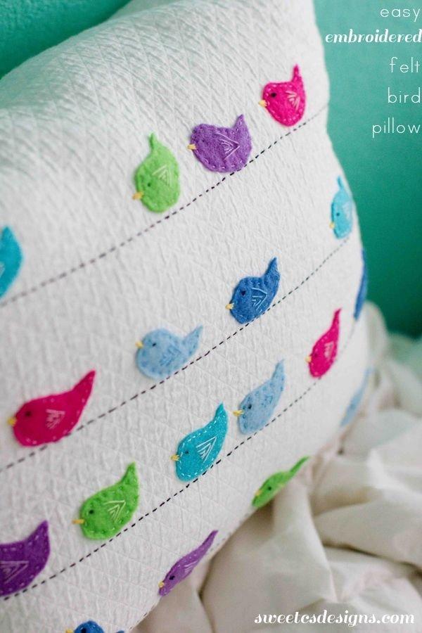 Embroidered Felt Bird Pillow